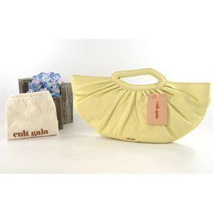 Cult Gaia Butter Lamb Leather Large Gathered Clutch Bag NWT